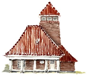 rødt hus, havnen, Rønne akvarel - Watercolor by Frits Ahlefeldt Bornholm Coast path
