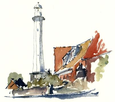 Rønne, harbor light, akvarel - Watercolor by Frits Ahlefeldt Bornholm Coast path