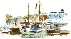 Roenne, akvarel - Watercolor by Frits Ahlefeldt Bornholm Coast path