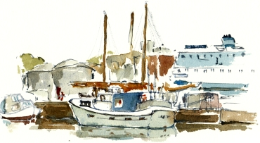Roenne, akvarel - Watercolor by Frits Ahlefeldt Bornholm Coast path