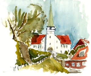 Rønne, akvarel - Watercolor by Frits Ahlefeldt Bornholm Coast path