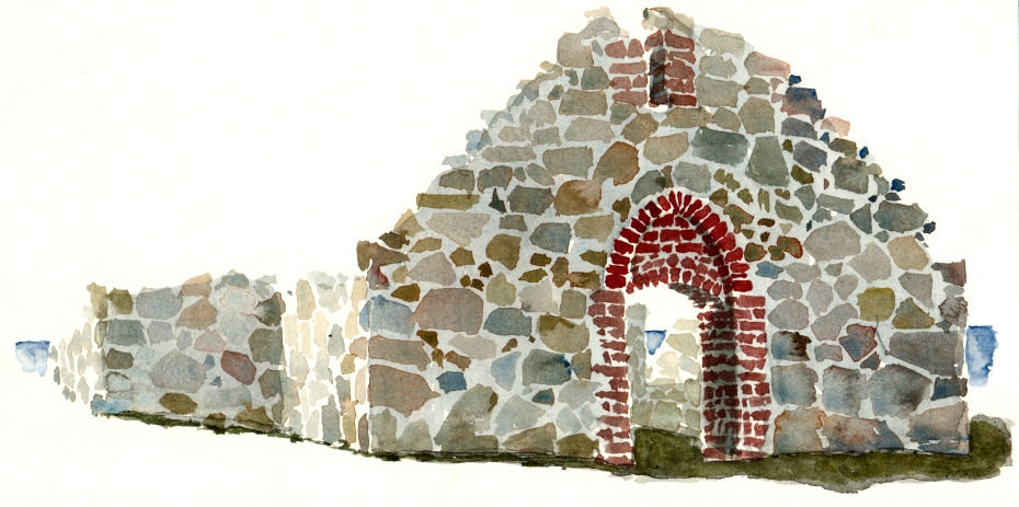 Salomon ancient ruin, hammeren. akvarel - Watercolor by Frits Ahlefeldt Bornholm Coast path