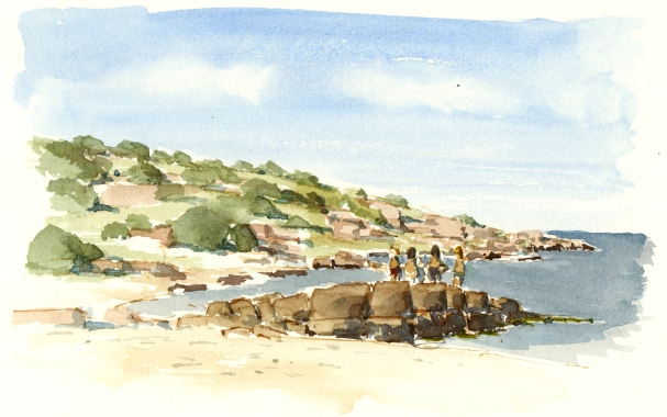 Sandvig strand. Beach with kids. akvarel - Watercolor by Frits Ahlefeldt Bornholm Coast path