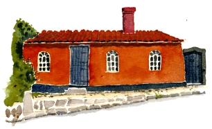 sandvig red house akvarel - Watercolor by Frits Ahlefeldt Bornholm Coast path
