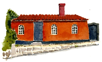 sandvig red house akvarel - Watercolor by Frits Ahlefeldt Bornholm Coast path