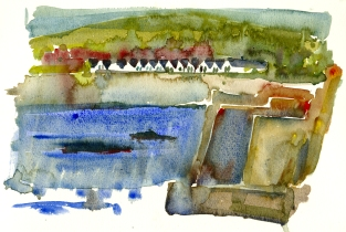 Sandvig, strandhuse akvarel - Watercolor by Frits Ahlefeldt Bornholm Coast path