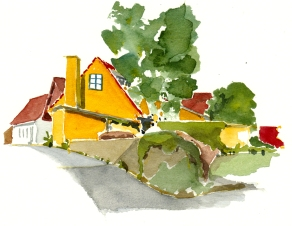 Sandvig, akvarel - Watercolor by Frits Ahlefeldt Bornholm Coast path