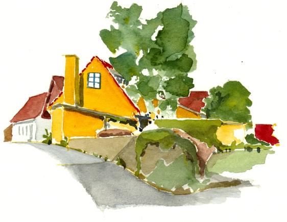 Sandvig, akvarel - Watercolor by Frits Ahlefeldt Bornholm Coast path