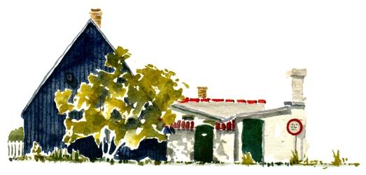 Sandvig black house, akvarel - Watercolor by Frits Ahlefeldt Bornholm Coast path