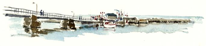 Snogebæk, akvarel - Watercolor by Frits Ahlefeldt Bornholm Coast path