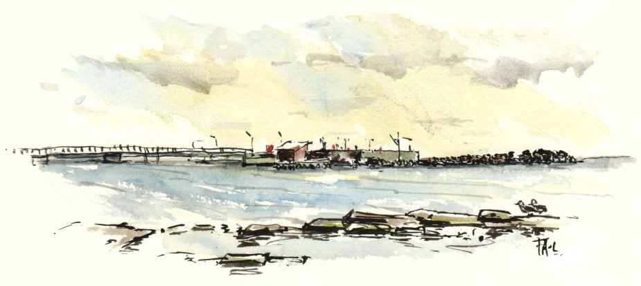 snogebaek harbor akvarel - Watercolor by Frits Ahlefeldt Bornholm Coast path