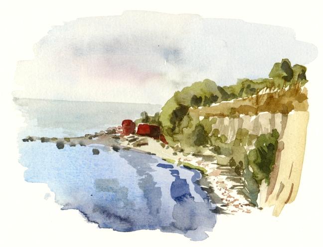 South coast akvarel - Watercolor by Frits Ahlefeldt Bornholm Coast path