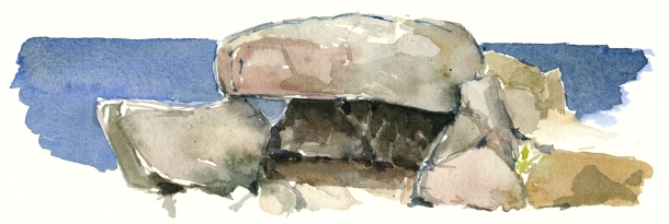 Stones, sten, akvarel - Watercolor by Frits Ahlefeldt Bornholm Coast path