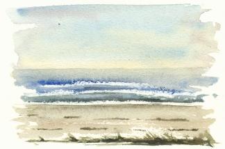 beach - akvarel - Watercolor by Frits Ahlefeldt Bornholm Coast path