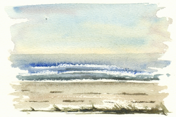 beach - akvarel - Watercolor by Frits Ahlefeldt Bornholm Coast path