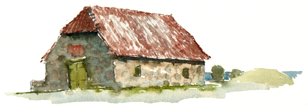 Ancient house, Svaneke, akvarel - Watercolor by Frits Ahlefeldt Bornholm Coast path