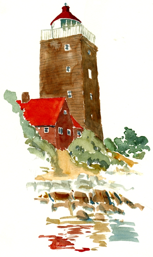 Svaneke fyr. akvarel - Watercolor by Frits Ahlefeldt Bornholm Coast path