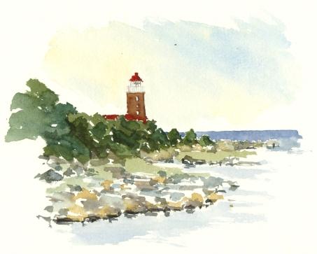 Svaneke fyr, akvarel - Watercolor by Frits Ahlefeldt Bornholm Coast path