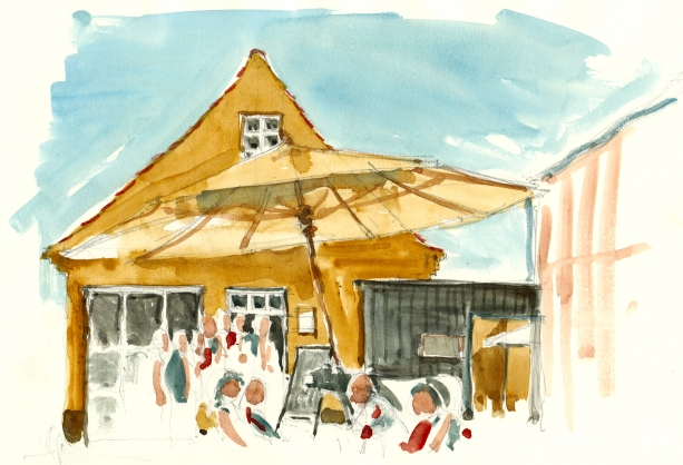 cafe' in Svaneke akvarel - Watercolor by Frits Ahlefeldt Bornholm Coast path