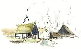 Risegaard Bornholm akvarel - Watercolor by Frits Ahlefeldt Bornholm Coast path