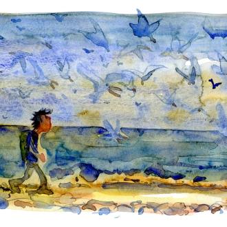 akvarel af Frits Ahlefeldt